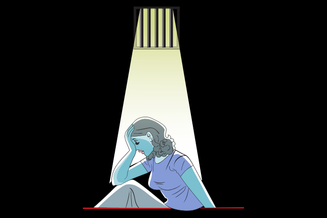 graphic of woman in jail cell