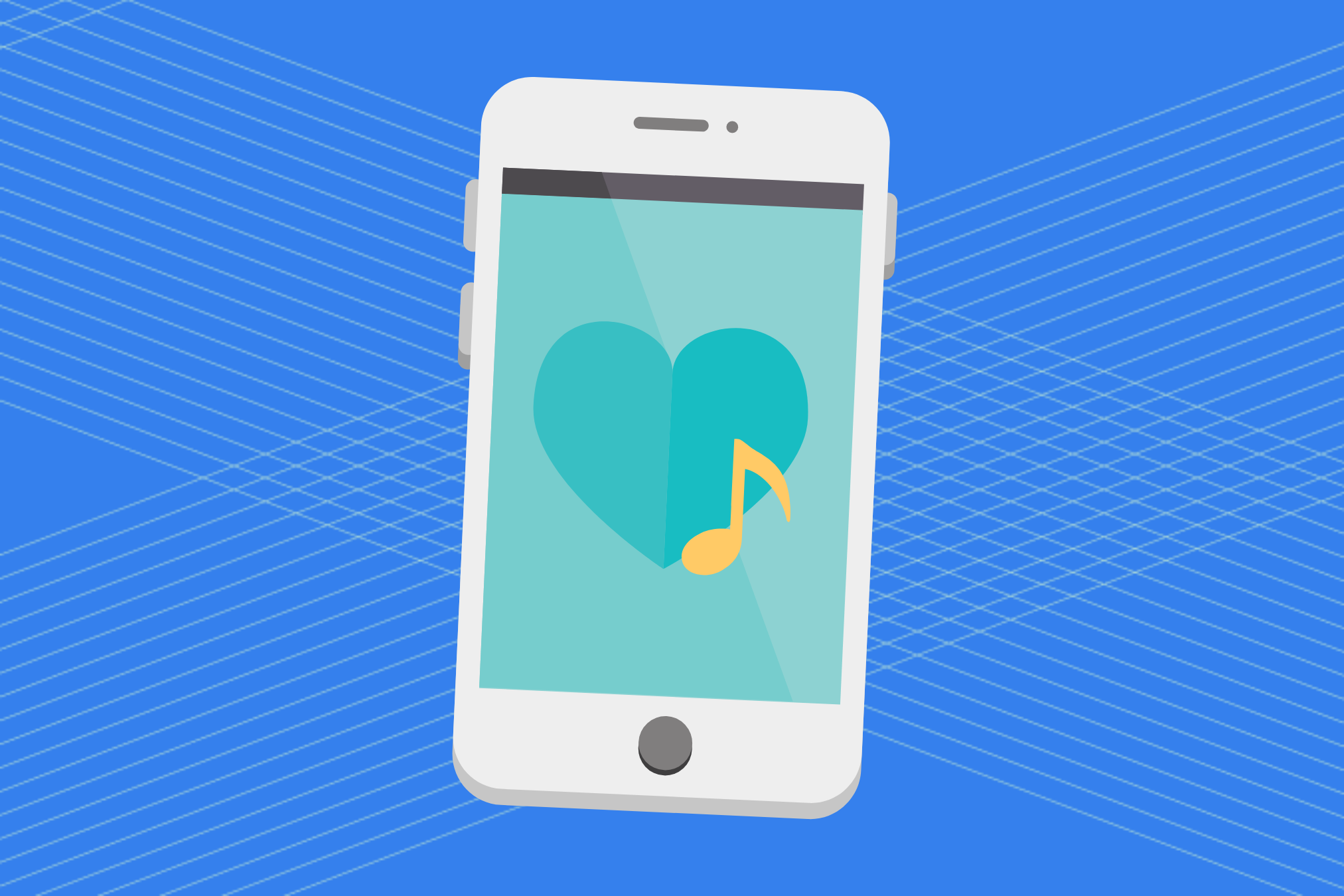 Illustration of smart phone with a musical note and heart on the screen