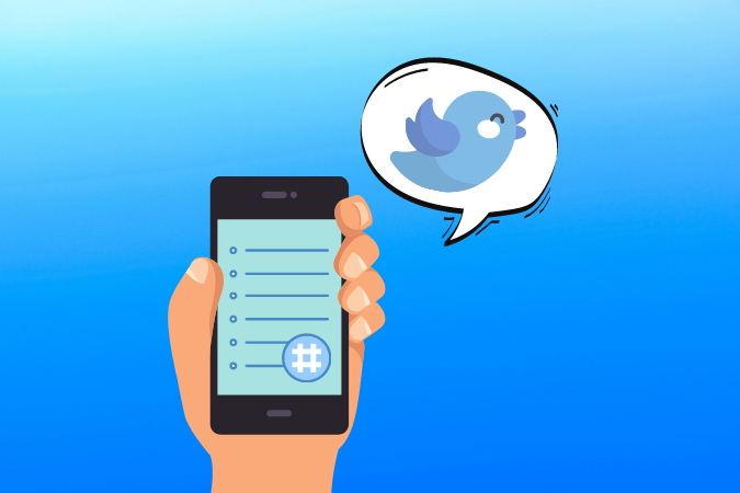 graphic of hand holding smartphone and chat bubble above with the Twitter bird inside