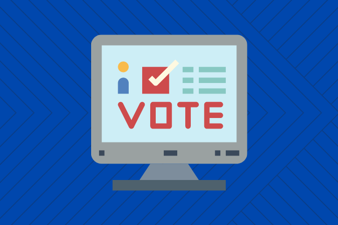 Graphic of computer with voting screen
