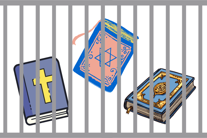 graphic of jail cell with relgious texts behind bars