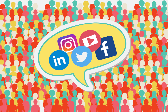graphic of crowd of people with speech bubble containing social media logos in it on top