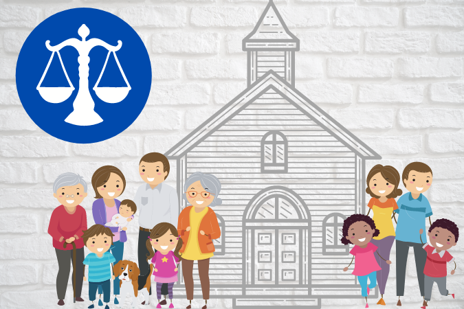 graphic of church with people standing by it and justice scales